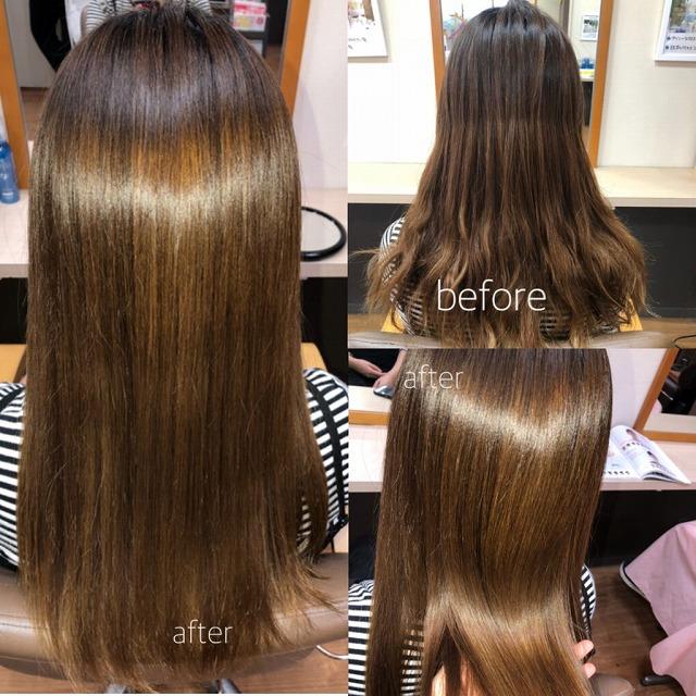 キラ髪:カラー+パーマをしているギシギシヘアーでも、1回のキラ髪で  こんなにキレイにまとまりました。つやつやで手触りもサラッサラなのです(♡_♡)!