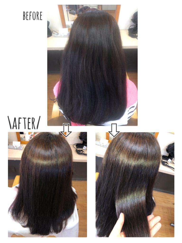 キラ髪:髪のうねりやパサつき・広がりでお悩みの方ですが… キラ髪を2回やってくださり、髪の毛のまとまりもさらに良くなり、つやっつやになりました。・。・✩  キラ髪を重ねてして頂くと、ハリもツヤも倍増します!!  うねりやパサつきでお悩みの方は、お気軽にスタッフまでご相談ください(*´ω`*)♡