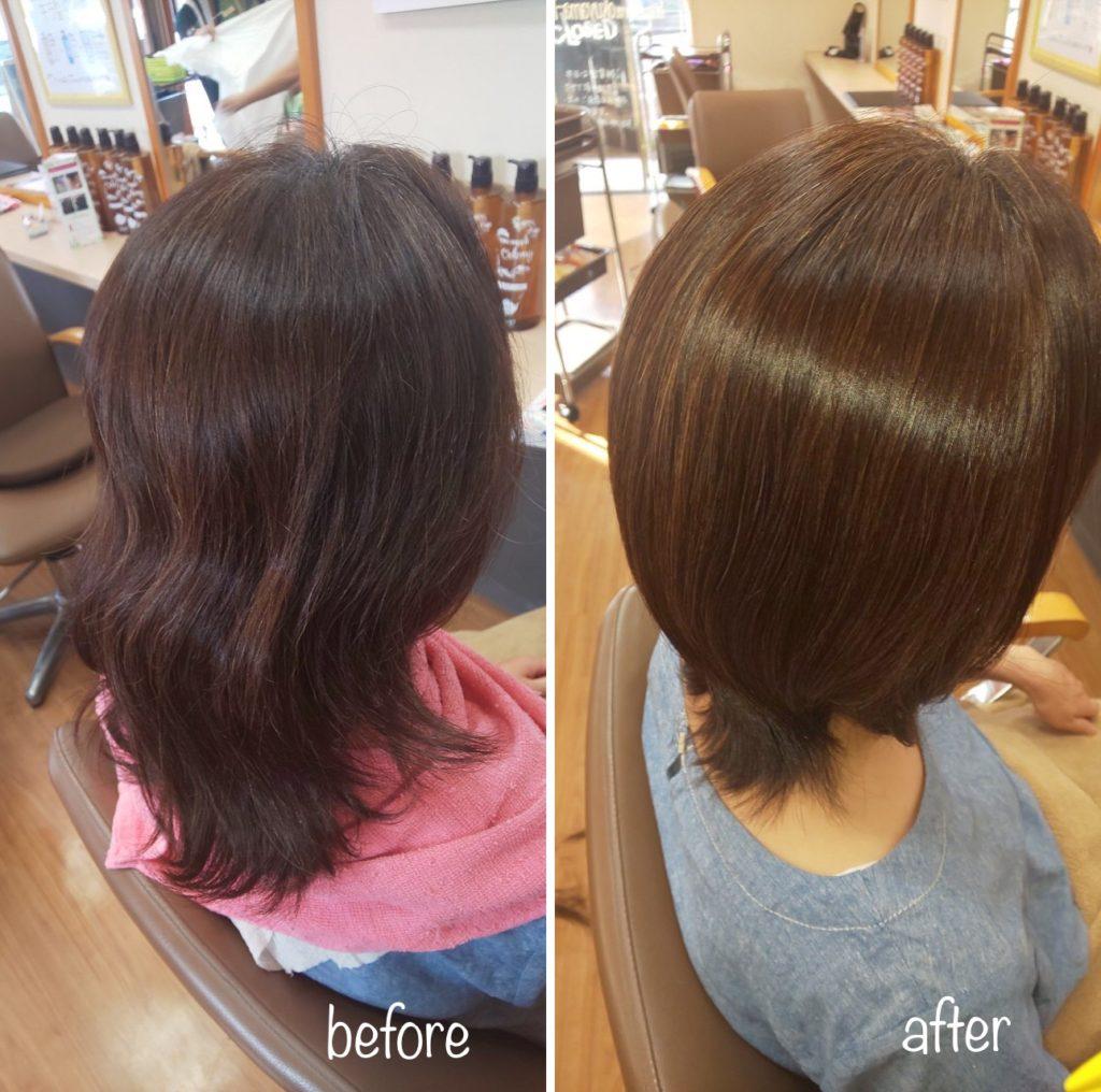 キラ髪☆繰り返すほど、髪がよみがえる☆これまで縮毛矯正をされていたお客様。縮毛矯正をするたびに、髪にストレスがかかり傷みやすいので髪質改善メニューのキラ髪✨に変更されました♡