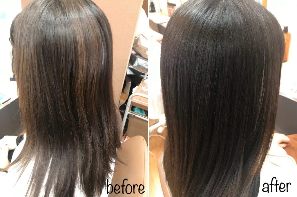 キラ髪☆5月に、他店で縮毛矯正をされたお客様。美容室オクヤマのサイトをご覧になって、「キラ髪✨をやってみたくなった」ということで、ご来店頂きました♡